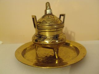 Vintage Chinese Oriental Brass Incense Burner With Brass Tray photo