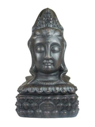 Chinese Clay Incense Burner,  Kwan - Yin Statue&lotus Base photo