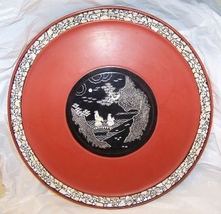 Antique Japanese Abalone Mother Of Pearl Inlay Red Urushi W/raden Plate photo