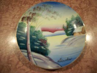 Vintage Handpainted Mini Plate - Signed Airoka photo