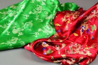 Vintage Chinese 100% Natural Pure Silk Satin Dragon Phoenix Fabric 5 Yards 2 Pcs photo
