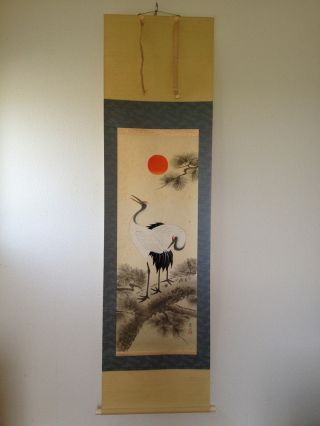 121 ~double Cranes & The Rising Sun~ Japanese Antique Hanging Scroll photo