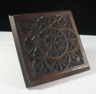 Antique Chinese ? Geometric Carved Wooden Square Stand Trivet Black Forest ? photo