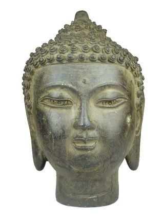 Chinese Small Bronze Buddha Head Statue photo