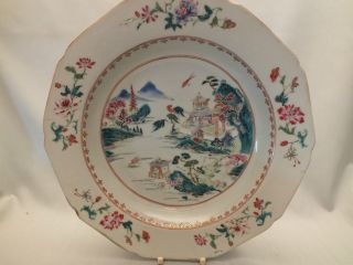 Chinese Porcelain Soup Plate With Landscape Scene In Famille Rose Colours 18thc photo