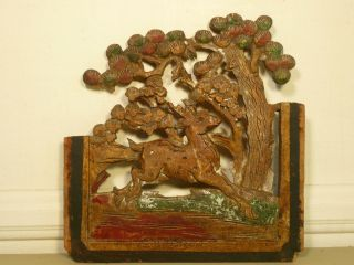 9.  Antique Chinese Carved Green & Brick Red Wood Panel W/ Deer photo