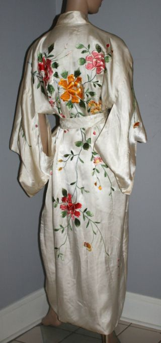 Vintage 20s 30s Rayon Silk Hand Embroidered Kimono Robe Exceptional photo