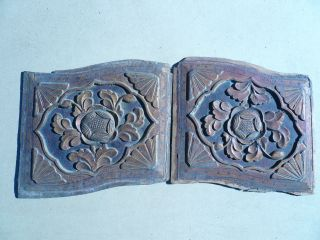 106.  Antique Carved Gold Gilt Wood Panel 2pcs/set W/ Flower photo