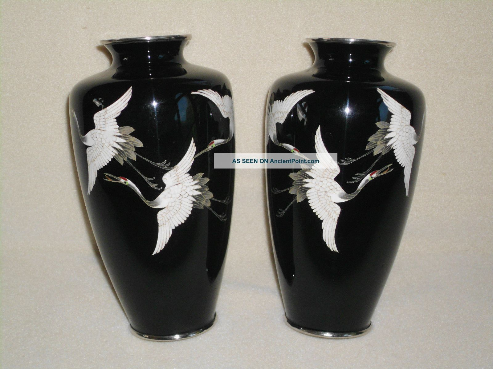 2 Vtg Black Japanese Sato Ginbari Enamel Cloisonne Vases Silver Rim Cranes Birds Vases photo