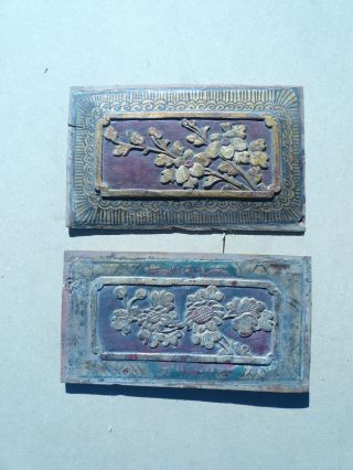 90.  Antique Carved Gold Gilt Wood Panel 2pcs/set W/ Flower photo