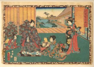 Kunisada - 1852 Japanese Woodblock Print photo