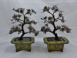 Pair Antique Chinese Jade Stone Trees In Enameled Bronze Planters - Cloissone photo