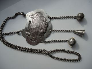 Antique Chinese Silver - Necklace - Pendant - Unusual - Massive 64grm Bells Etc photo
