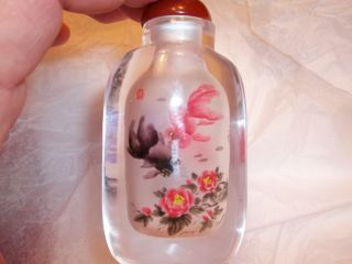 Inside Painted Snuff Bottle - Goldfish Both Sides - Artist Signed W/ Box - photo