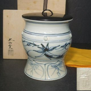 F187: Japanese Blue - And - White Porcelain Water Container By Famous Taisen Kiln photo