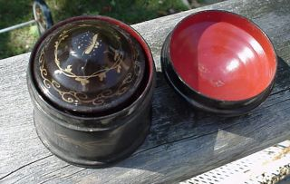 Antique 3 Chinese Lacquer Nesting Lidded 4 1/2