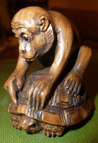 Fine Netsuke Curious Monkey On Tortoise Intricately Carved C20th Signed Rare photo