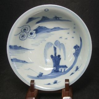 F130: Real Old Chinese Blue - And - White Porcelain Plate Of Qing Dynasty Age photo