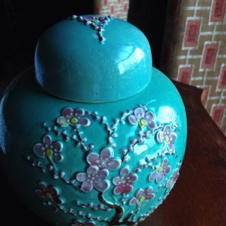 Antique/vintage Chinese Porcelain Handpainted Covered Jar Republic Period photo