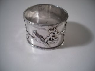 A Chinese Silver Napkin Ring With Raised Floral Decoration 2 : China C1920 photo