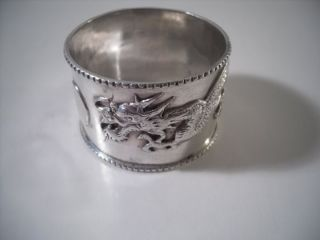 A Chinese Silver Napkin Ring With Raised Dragon Decoration : China C1920 photo
