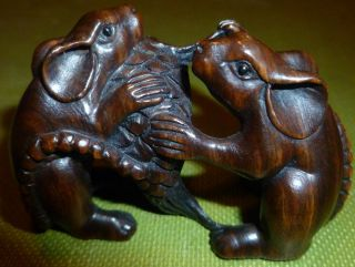 Fine Netsuke / Okimono 2 Rats Fighting Over A Fish Intricately Carved C20th Rare photo