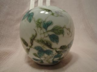 Signed Chinese Miniature Eggshell Hand Painted Peacock Vase 1915 - 16 photo