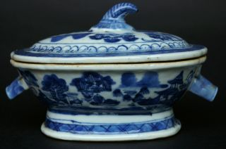 Antique Chinese 18thc Blue And White Terrine photo