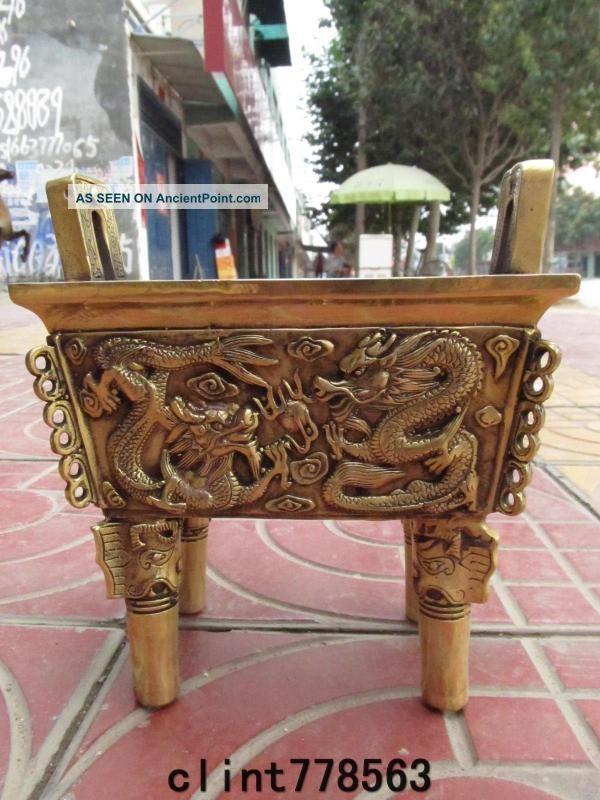 China Royal Worship Buddha Dedicated Brass Ssangyong Incense Burner16 Reproductions photo