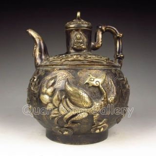 Chinese Bronze Teapot & Lid W Buddha & Phoenix Nr photo