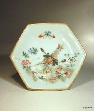 Chinese Antique Porcelain Footed Dish Butterflies & Flowers photo