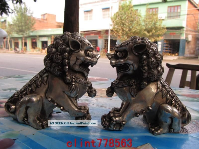 Chinese Classical Silver Palace Guardian Evil Door Foo Dog Fu Lion Kylin Pair Reproductions photo