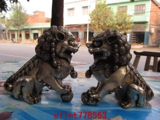 Chinese Classical Silver Palace Guardian Evil Door Foo Dog Fu Lion Kylin Pair photo