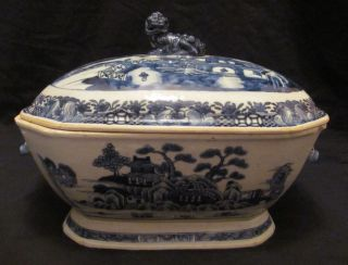Large Antique Chinese Export Nanking Pattern Soup Tureen photo