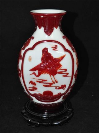 Chinese Antique Red Overlay White Glass Vase With Qianlong Mark photo