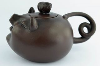 China Collectibles Old Decorated Wonderful Handwork Zisha Pig Tea Pot Top photo