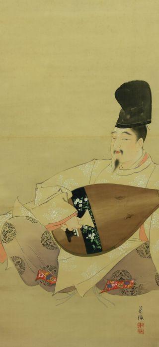Jiku829 Jc Japan Scroll Fujishima Kasen Figure Painting photo