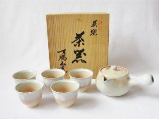 Japanese Hagi Ware Tea Set W/signed Box By Tenpozan Kiln; Teapot/ 129 photo