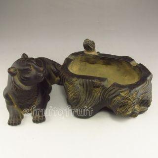 Chinese Zisha / Purple Clay Brush Washer W Tiger photo