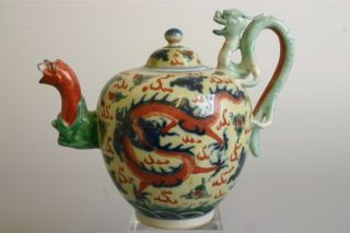 Rare 18thc Chinese Yellow Porcelain Wine Pot Qianlong / Jiaqing Period 1736 - 1820 photo