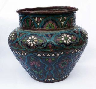 Antique Islamic Art Large Enamel Bowl C1890 photo