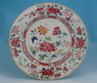 Fine Antique Chinese Porcelain Famille Rose Plate W/ Flowers Qianlong Period photo