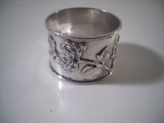 A Chinese Silver Napkin Ring With Raised Floral Decoration 1 : China C1920 photo