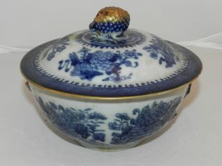 Vintage Chinese Porcelain Export Blue & White Covered Dish - Bowl,  Lid,  Oriental photo