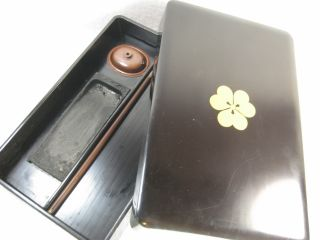 Japanese Antique 100 Yr.  Lacquered Wooden Lidded Calligraphy Suzuribako Suiteki photo