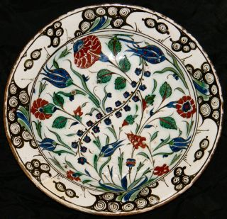 Antique Faience Turkey Ottoman Iznik Dish,  16th 17th Century photo
