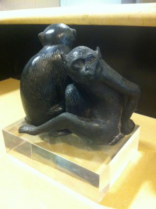 Antique 2 Japanese Bronze Monkey photo