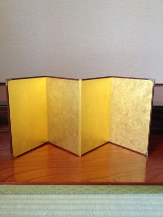 165 ~a Small Gold Folding Screen~ Japanese Antique Item photo
