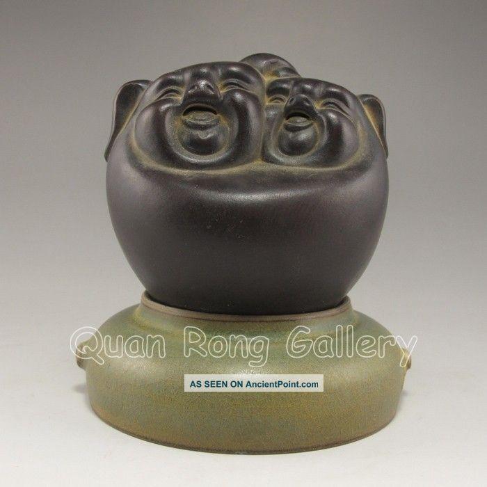 Chinese Zisha / Purple Clay Statue - Laughing Buddha Nr Buddha photo