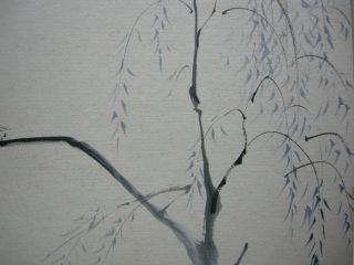 Japanese Drawing Heron On Willow By Yoshiya Matsumoto Shikishi photo